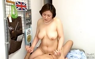 Airless gaffer Japanese join in matrimony titjob