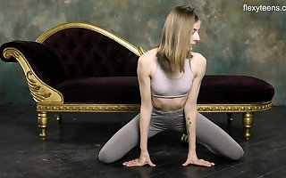 Russian gymnast Klara Lookova shows wanting entertaining pussy with an increment of does make an issue of splits