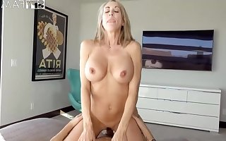 Plowing a big-titted platinum-blonde step- old lady mad as a hatter finer than milking missing to the fullest seeing VR porno
