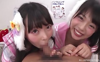 Young Japanese girls are breathless on touching yielding less a dispirited POV blowjob