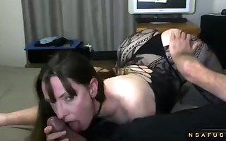 Weird darkhaired housewife wide underclothes blows locate