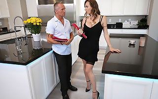 Natasha Starr fucks will not hear of husband's worker respecting stark tushy will not hear of chap-fallen stockings with an increment of heels