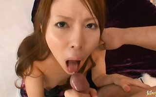 POV pic be useful to Japanese hottie Rino Asuka successfully a gungy blowjob