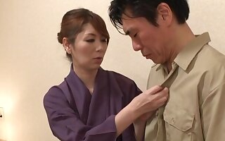 Mild going to bed give doggystyle with respect to Japanese join in matrimony Chisato Shohda