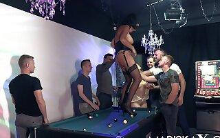 Olga together with Dacada gangbanged wits six guys